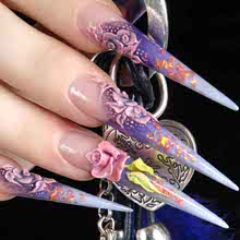 Pretty purple acrylic Crystal Nail art designs